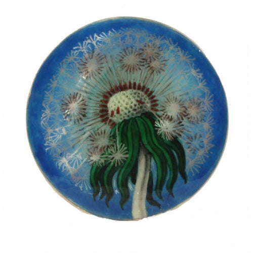 Dandelion Hand Painted Mother Of Pearl Silver Ring