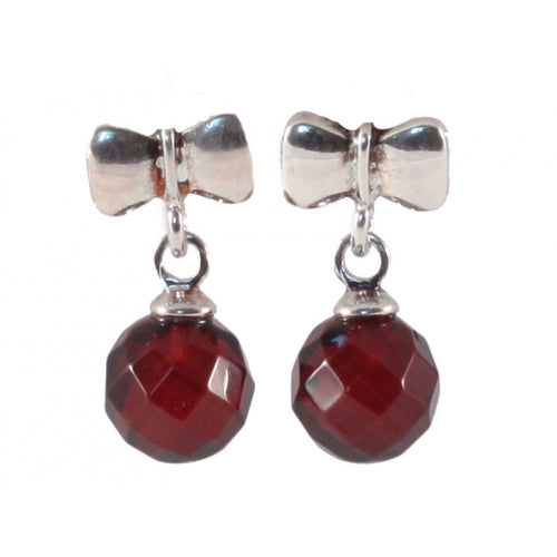 buyrussiangifts-store - Diamond Cut Cherry Amber & Sterling Silver Round Beads Earrings - BuyRussianGifts Store - Amber Jewelry