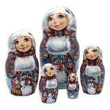 Children with Snowman Russian Winter Nesting Dolls Set of 5