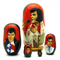 "buyrussiangifts-store - Elvis King of Rock & Roll 5 piece Set 4"" Tall - BuyRussianGifts Store - Nesting doll"