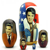 "buyrussiangifts-store - Elvis Presley with Microphone Set 4"" Tall - BuyRussianGifts Store - Nesting doll"