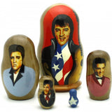 "Elvis with American Flag Matryoshka Set 4"" Tall"