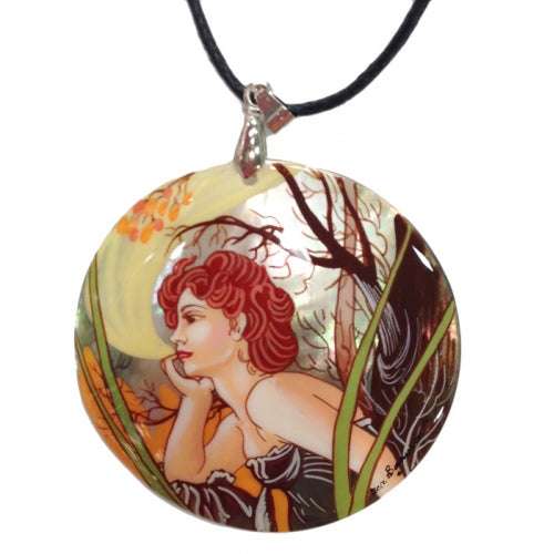 buyrussiangifts-store - Mother of Pearl Painted Pendant inspired by Evening Contemplation Mucha - BuyRussianGifts Store - MOTHER OF PEARL HAND PAINTED JEWELRY