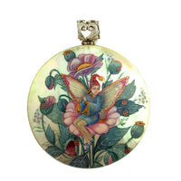 buyrussiangifts-store - Fairy with Flowers Hand Painted Pendant - BuyRussianGifts Store - MOTHER OF PEARL HAND PAINTED JEWELRY