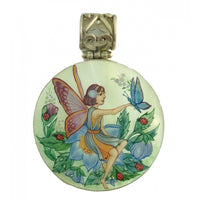buyrussiangifts-store - Fairy with Butterfly Hand Painted Small Silver Pendant - BuyRussianGifts Store - MOTHER OF PEARL HAND PAINTED JEWELRY