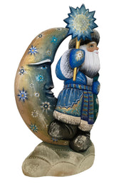 Blue and gold Santa on a moon