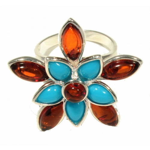 buyrussiangifts-store - Flower Cognac Amber Turquoise Sterling Silver Ring - BuyRussianGifts Store - Amber Jewelry