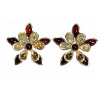 Flower Shaped Cognac Lemon Amber & Sterling Silver Earrings