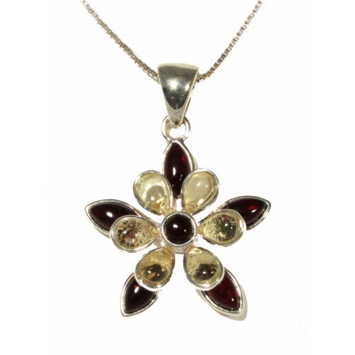 Flower Shaped Cognac / Lemon Amber & Sterling Silver Pendant