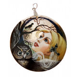 Girl with Owl Hand Painted Pendant