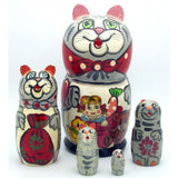 buyrussiangifts-store - Gray Cat with Toys Matryoshka Nesting Set - BuyRussianGifts Store - Nesting doll