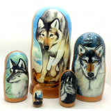 "buyrussiangifts-store - Gray Wolf Nesting Doll Set 7"" Tall - BuyRussianGifts Store - Nesting doll"