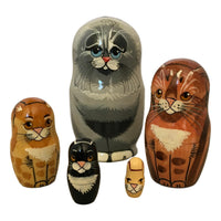 Grey cat nesting dolls