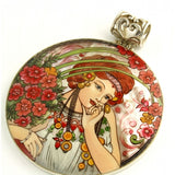 Hand Painted Silver Large Pendant Inspired by Mucha