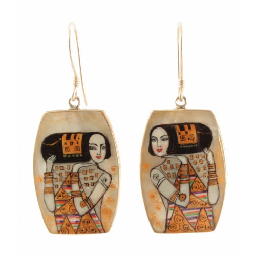 Hand Painted Earrings Inspired by Expectation, Klimt