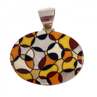 Hand Painted Pendant Geometric Design