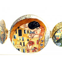 "Hand Painted Bracelet Inspired by ""The Kiss"", Klimt"