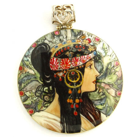 Hand Painted Sterling Silver Pendant The Brunette Mucha