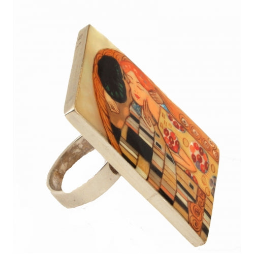 Hand Painted Sterling Silver Ring Inspired The Kiss by Klimt