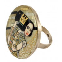 buyrussiangifts-store - Hand Painted round Silver Ring Expectation Klimt - BuyRussianGifts Store - MOTHER OF PEARL HAND PAINTED JEWELRY