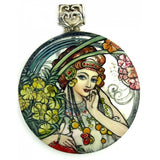 buyrussiangifts-store - Mother of Pearl Silver Pendant Inspired by Muse Alphonse Mucha - BuyRussianGifts Store - MOTHER OF PEARL HAND PAINTED JEWELRY