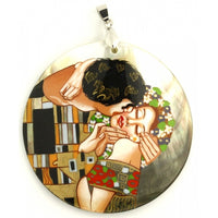 Hand Painted Pendant inspired by Kiss Klimt