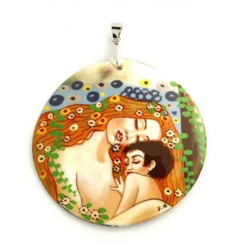 buyrussiangifts-store - Hand Painted Pendant Inspired by Mother and Child Klimt - BuyRussianGifts Store - MOTHER OF PEARL HAND PAINTED JEWELRY
