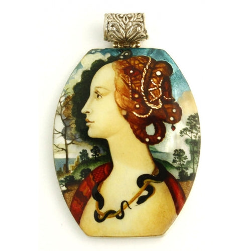 Hand Painted Large Silver Pendant Inspired by Sandro Botticelli