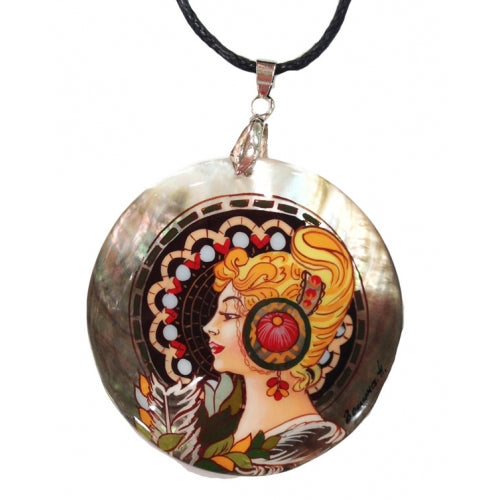 Hand Painted Pendant Inspired by Mucha Picture The Blonde Mucha