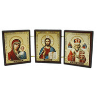 buyrussiangifts-store - Holy Mother, Jesus Christ and Saint Nicholas Triptych / small - BuyRussianGifts Store - Souvenirs
