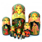 Ivan Tsarevich and Gray Wolf 10 piece Fairy Tale Nesting Doll Set