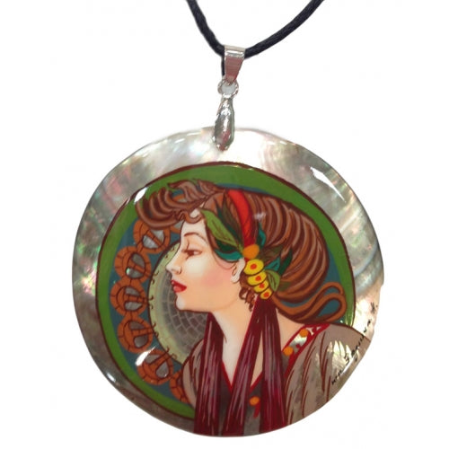Hand Painted Pendant inspired by Job Alphonse Mucha
