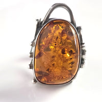 Large Oval Cognac Amber Sterling Silver Adjustable Ring