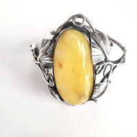 Antique butterscotch natural amber bracelet in sterling silver