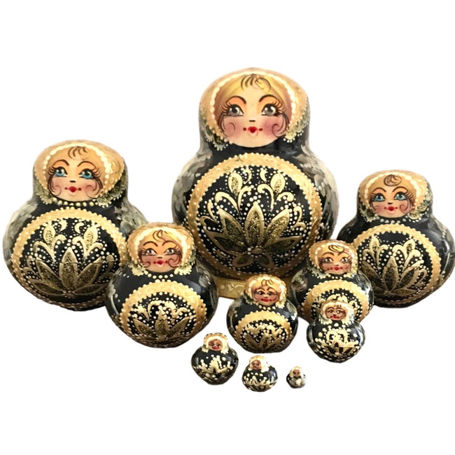 Large stacking dolls black and gold