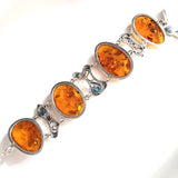 Large Oval Honey Amber Silver Bracelet with Turquoise Beads