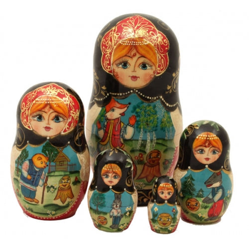 Kolobok or The Little Round Bun Story Tale Nesting Doll