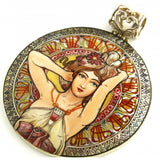 "Hand Painted Silver Pendant inspired by ""Amethyst"", Mucha"