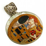The Kiss Hand Painted Small Round Pendant Inspired by Klimt