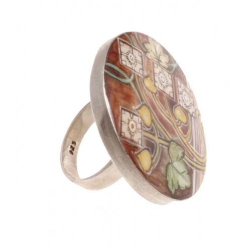 buyrussiangifts-store - Mother Pearl Painted Ring Inspired by Mucha - BuyRussianGifts Store - MOTHER OF PEARL HAND PAINTED JEWELRY