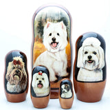 White Terrier Maltese Dog Breed Nesting Doll Set