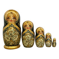 Black and Gold Traditional Matryoshka