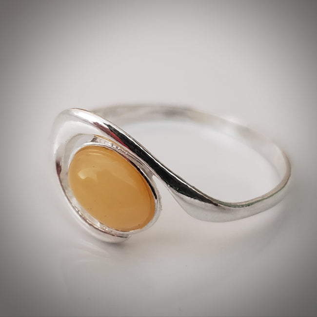 oval genuine butterscotch amber ring