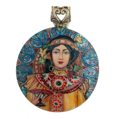 buyrussiangifts-store - Silver Pendant inspired by Moet And Chandon Cremant Imperial, Alphonse Mucha - BuyRussianGifts Store - MOTHER OF PEARL HAND PAINTED JEWELRY