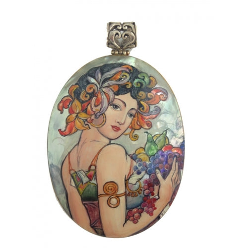 Mother of Pearl Silver Pendant Inspired by Fruit Mucha