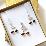 silver music note earrings pendant jewelry set  in box