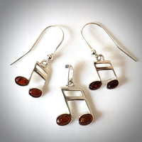 silver music note earrings pendant jewelry set