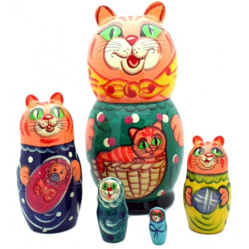 Orange Cat with Kitten Nesting Doll
