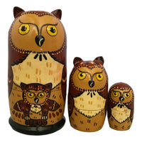 Set of owl Russian dolls