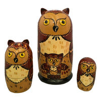 Brown owl nesting dolls